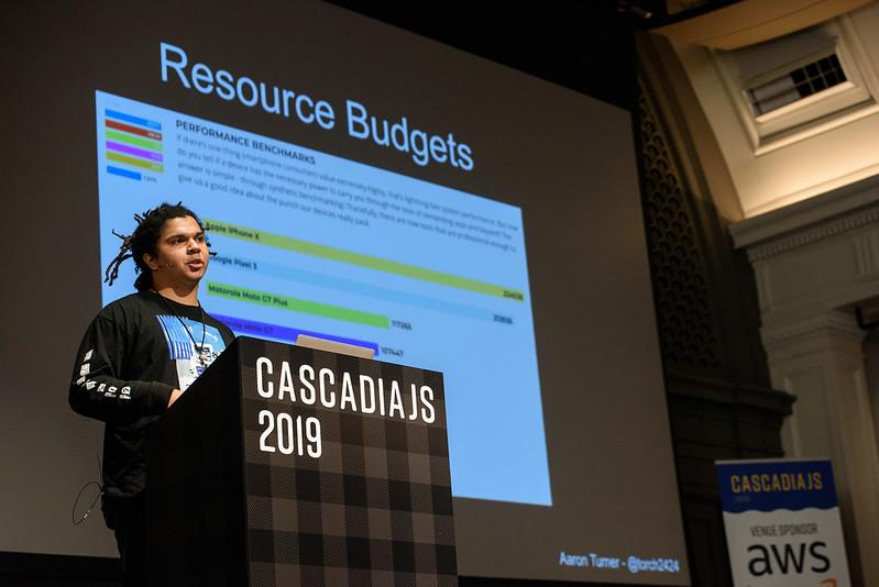 Aaron speaking at CascadiaJS 2019